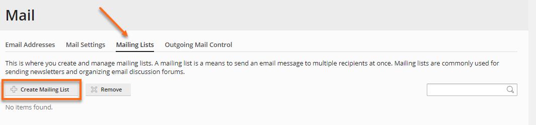 HostGators Plesk - Mail Create Mailing List