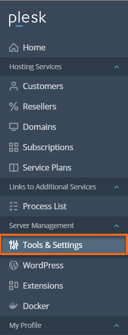 HostGator - Plesk Server Management section Tools & Settings