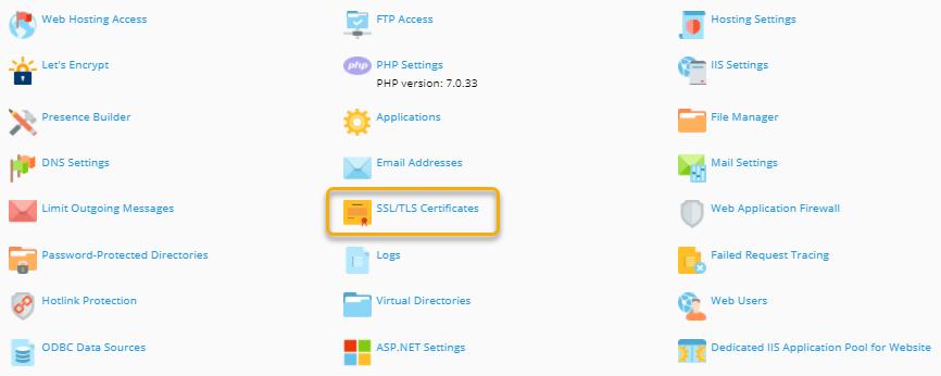 Plesk - SSL/TLS Certificates