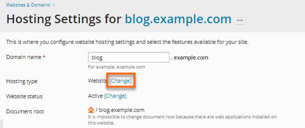 Subdomain - Change Hosting Type