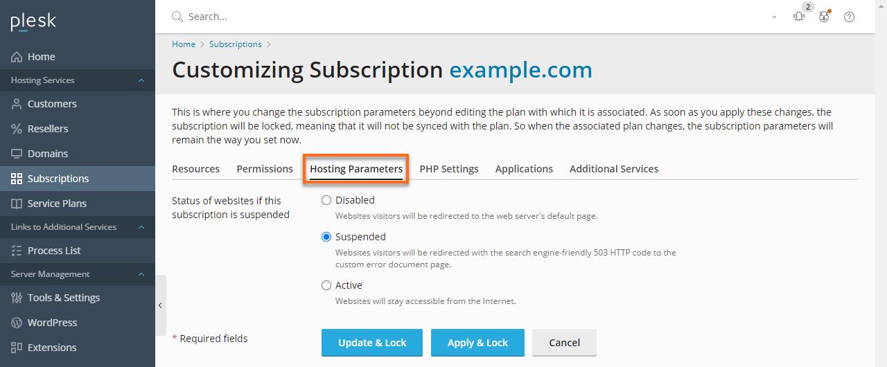 HostGator Plesk - Subscriptions Hosting Parameters