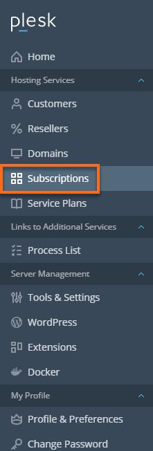 HostGator Plesk - Subscriptions