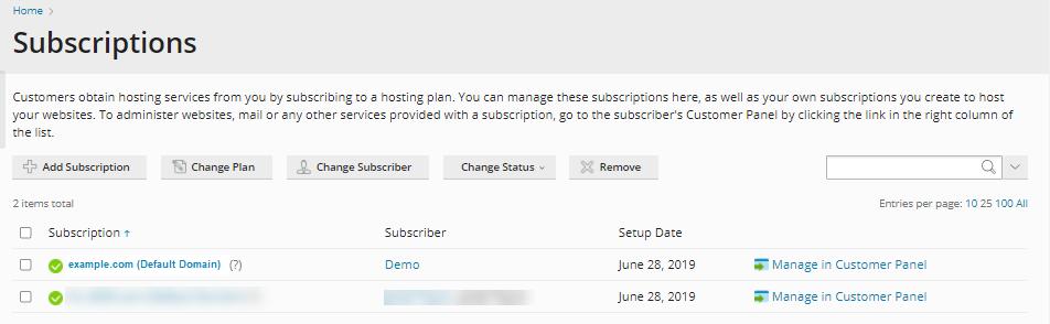 Plesk Admin Panel - Choose Subscriber