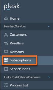 Plesk Admin Panel - Subscriptions tab