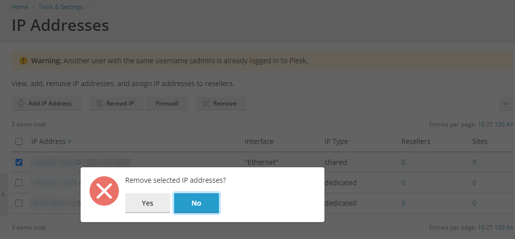 Plesk To Remove an IP Address Confirmation