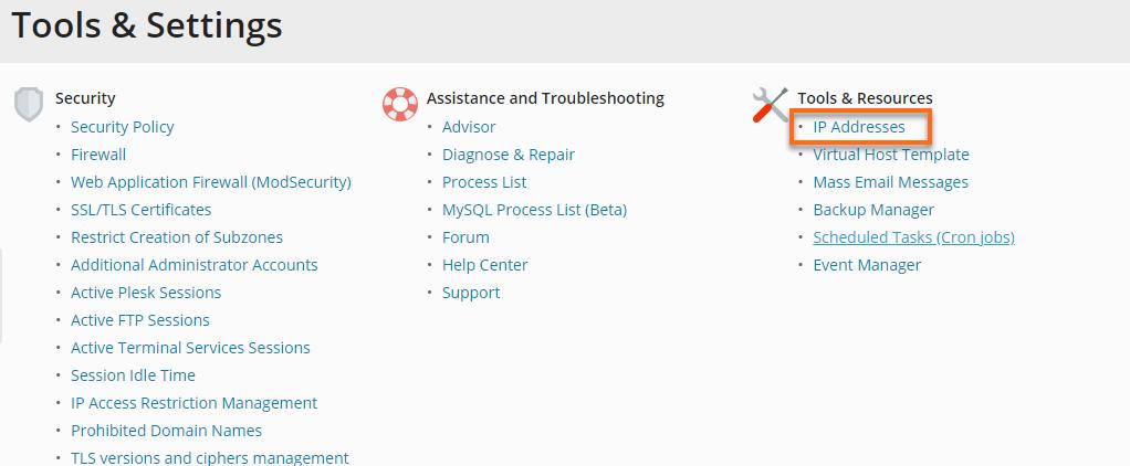 Plesk - Tools and Settings IP Address