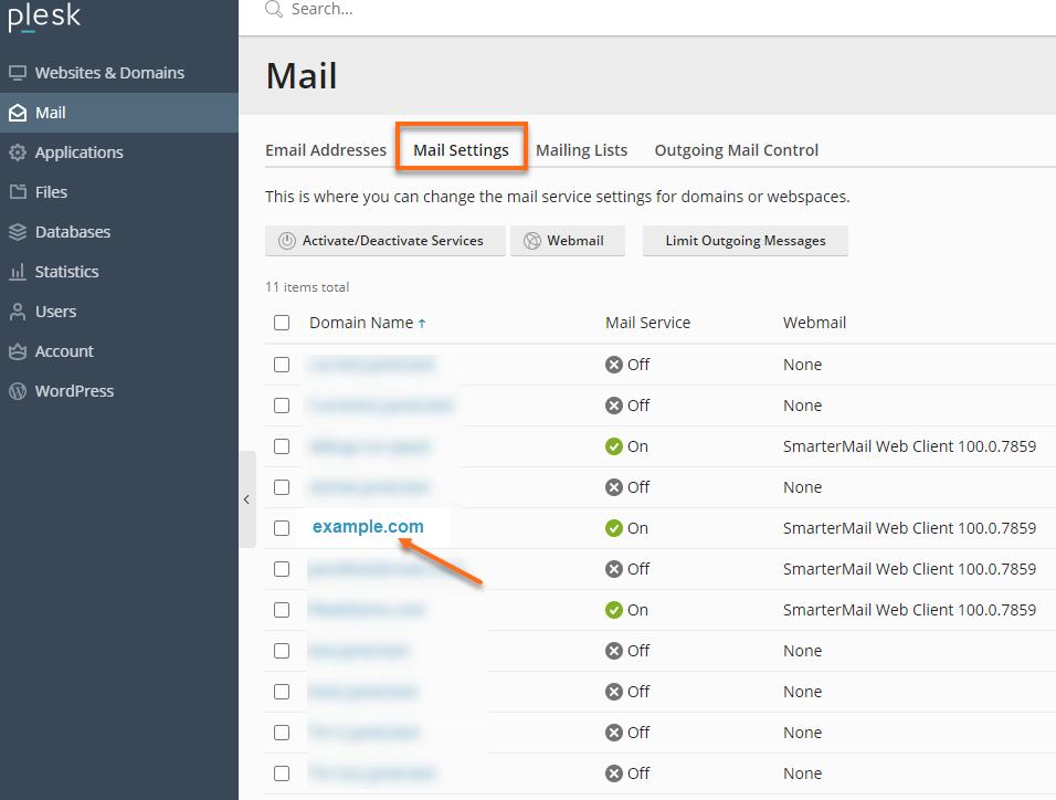 Plesk - Mail - Mail Settings Tab