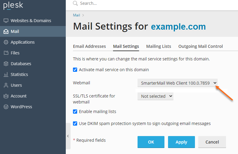 Plesk - Mail - Select SmarterMail