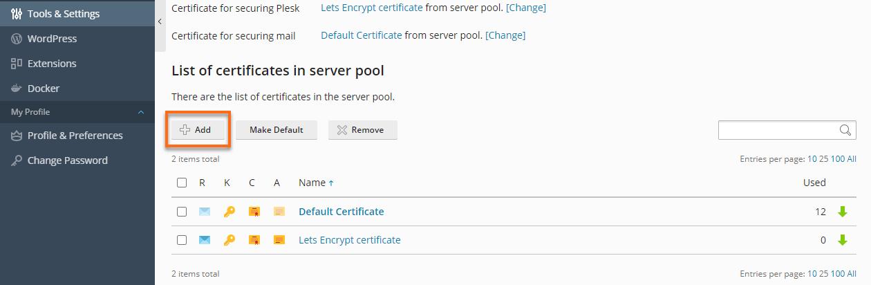Plesk - SSl.TLS Certificates Add