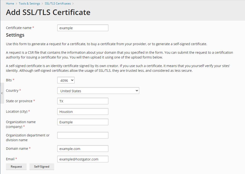 Plesk - SSl TLS Certificates Settings