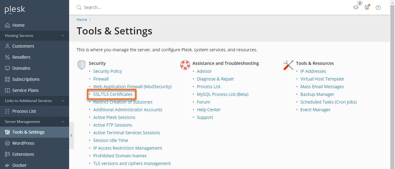 Plesk - SSl.TLS Certificates