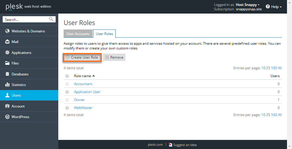 Create User Role Button