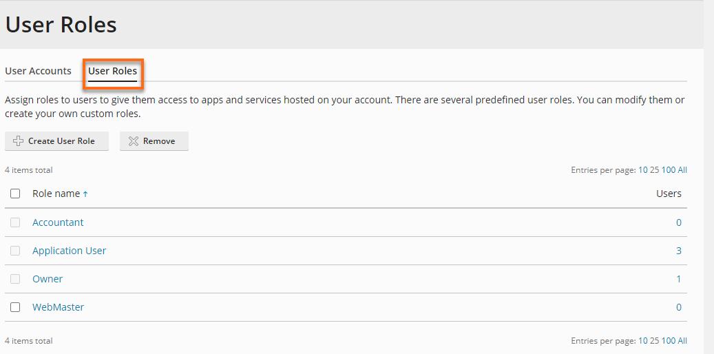 Hostgator Plesk User Roles Tab