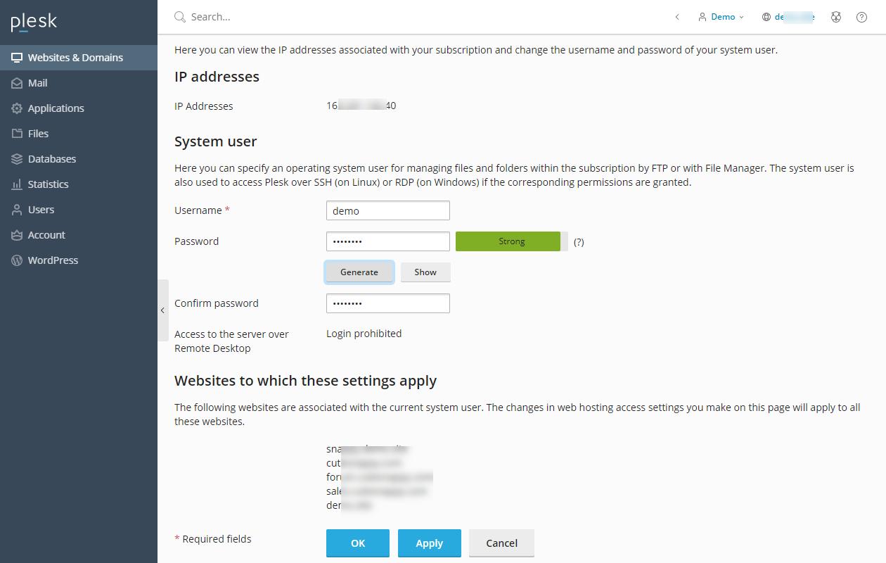 Plesk - Web Hosting Access