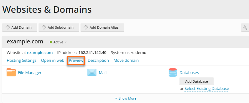 HostGator - Plesk Websites & Domains Preview