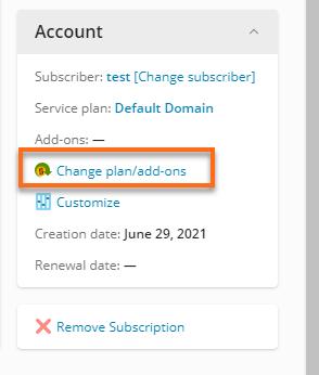 HostGator Plesk18 Change plan/add-ons