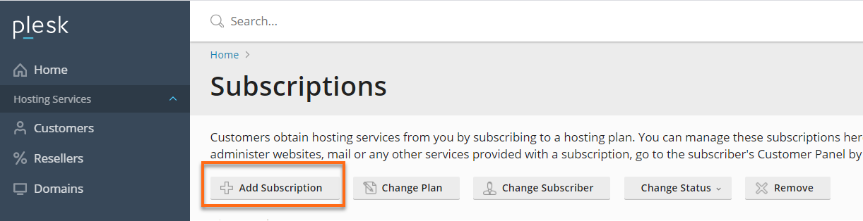 Plesk Add new subscription button