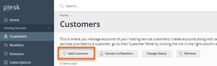 Add customer  button
