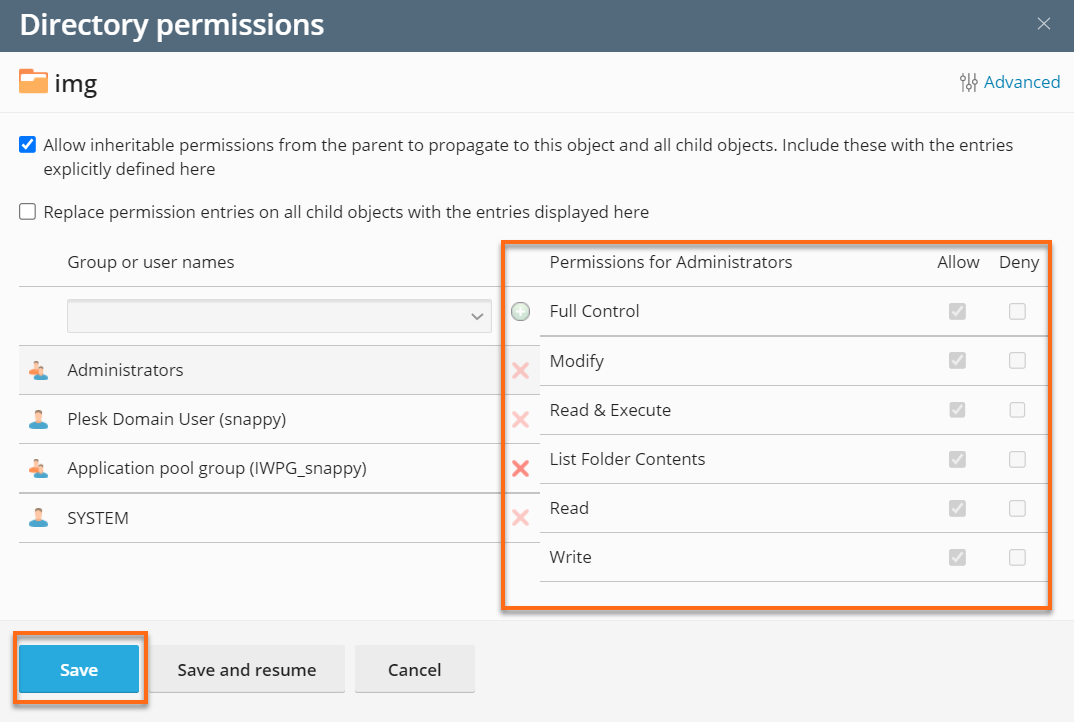 Change Permission for a User