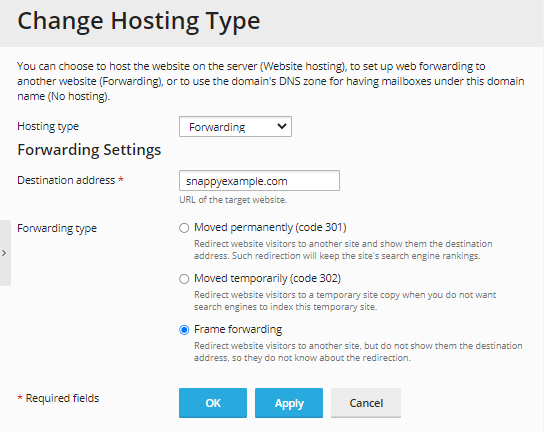 Change hosting type