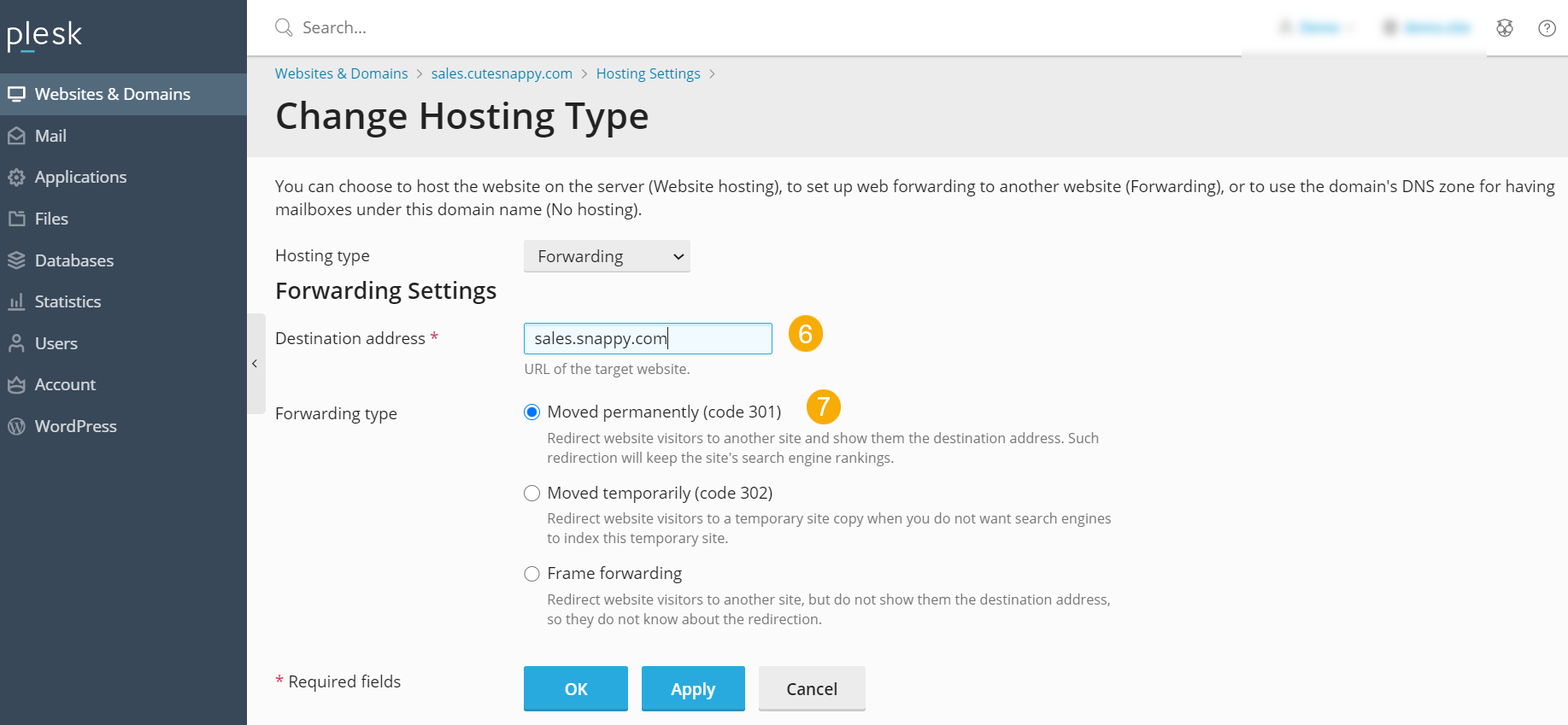 domain forwarding setup
