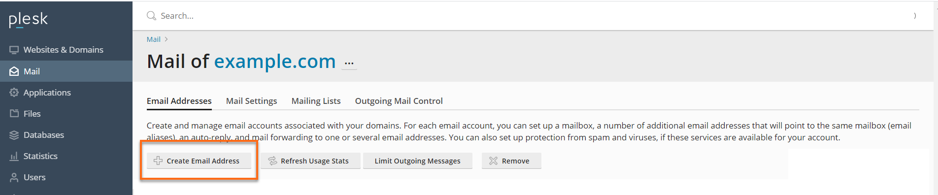 Create Email Address Button