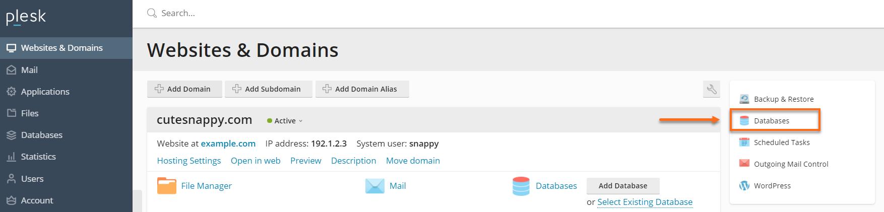 Plesk - Databases
