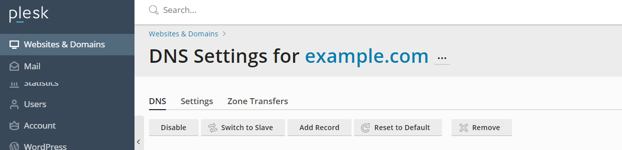 Plesk DNS Settings
