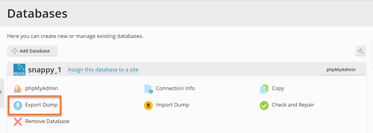 Plesk - Databases - Export Dump
