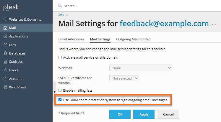 Plesk  Email Settings Tab