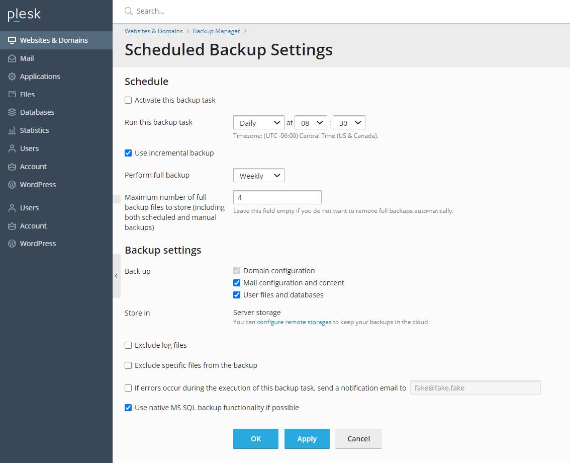 Scheduled backup settings