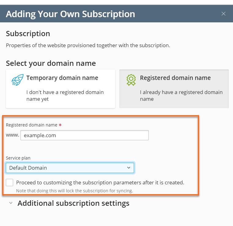 Plesk setup subscription