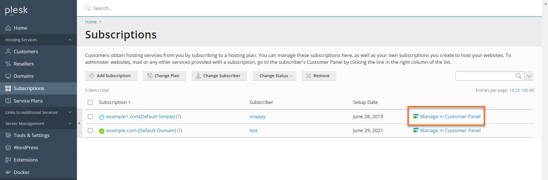 Manage in Customer Panel