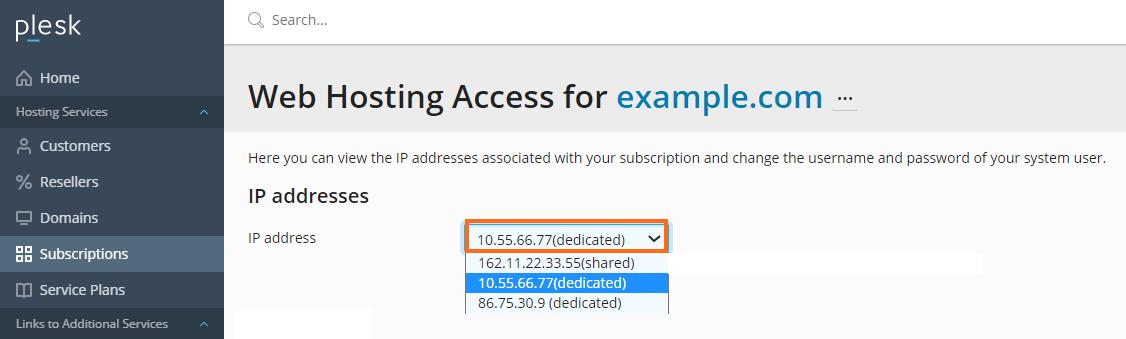 Selecting Dedicated IP