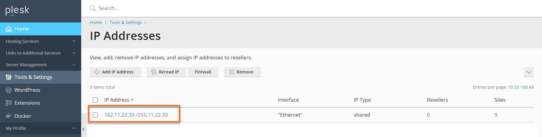 Modify an IP address
