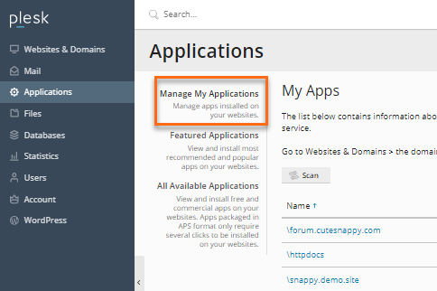 Plesk Manage Applications