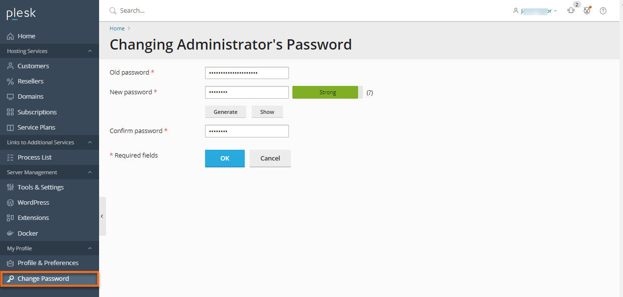 Plesk - To change your administrator's Password