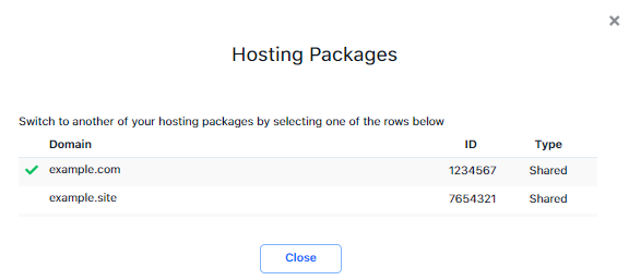 Customer Portal - Select hosting package