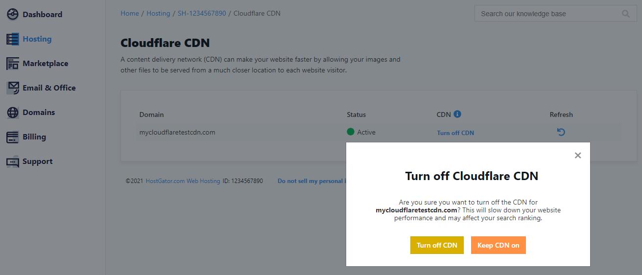 Cloudflare CDN - Turn Off