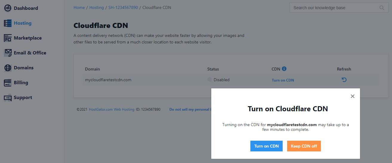 Cloudflare CDN - Turn On