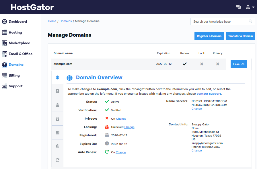 HostGator - Portal - Domain Overview
