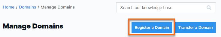 Custpmer Portal - Domains - Register a Domain
