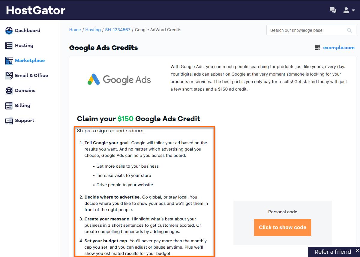 Customer Portal - Google Adwords Credit Steps