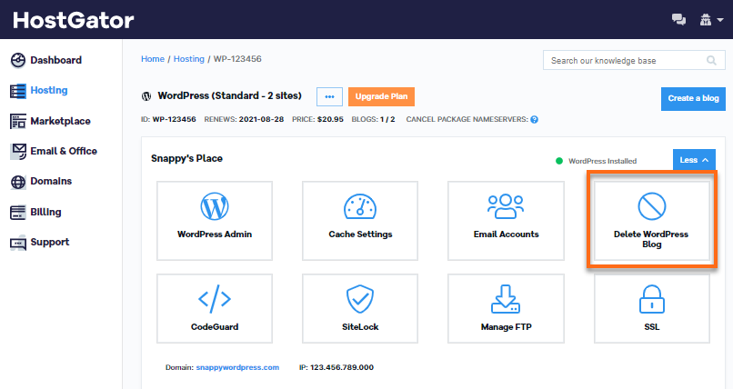 Customer Portal - WordPress Package - Delete WordPress Blog