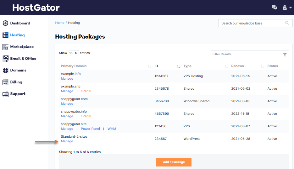 Customer Portal - Hosting - Manage Package