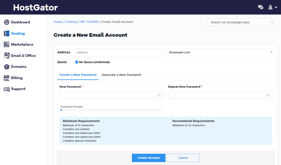 OWP - Email Accounts - Enter Details