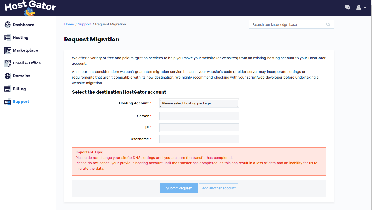 Customer Portal - Request Migration Form - Destination Account
