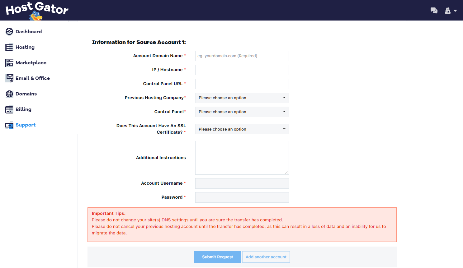 Customer Portal - Request Migration Form - Source Account