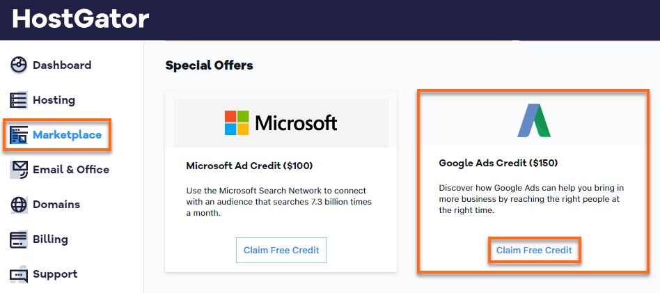 Customer Portal - Google Adwords Credit