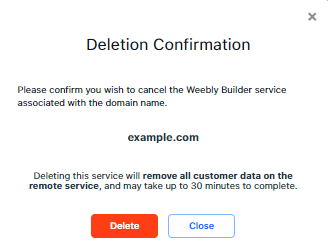 Weebly - Confirm Delete